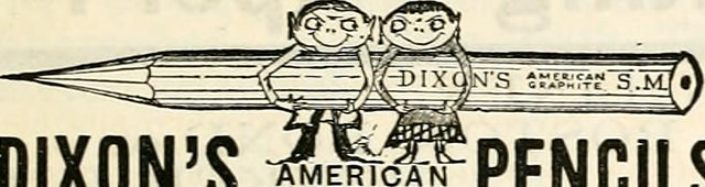 "Two tiny pixies holding a pencil bearing the legend ""Dixon's American Pencils"""