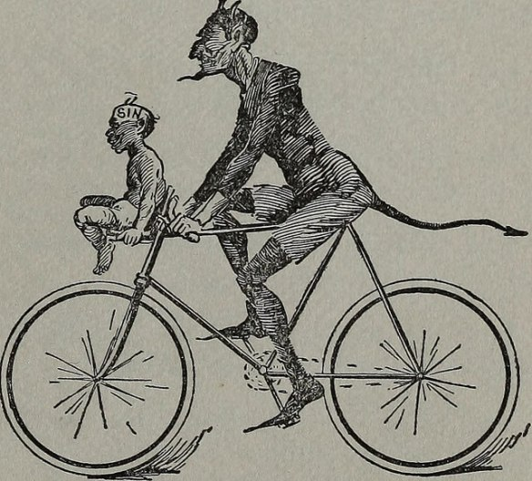 """A riding a bicycle with another figure labeled """"sin."""""""