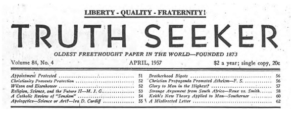 The Masthead of the Truth Seeker with the motto,
