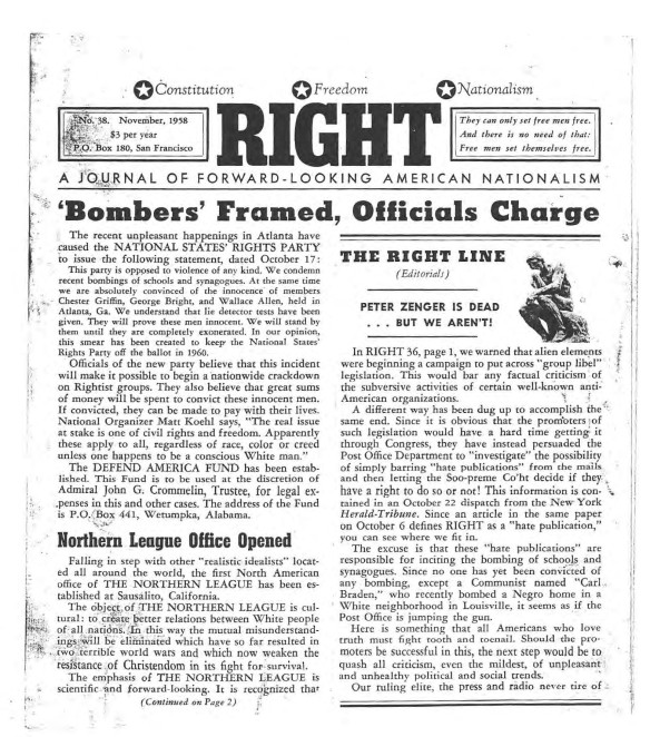 Front page of RIGHT: Headline