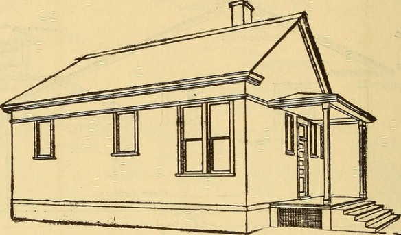 Line drawing of an old-fashioned school house