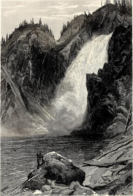 Woodcut of a waterfall.