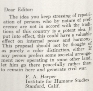 Text of Letter to the Editor which reads: