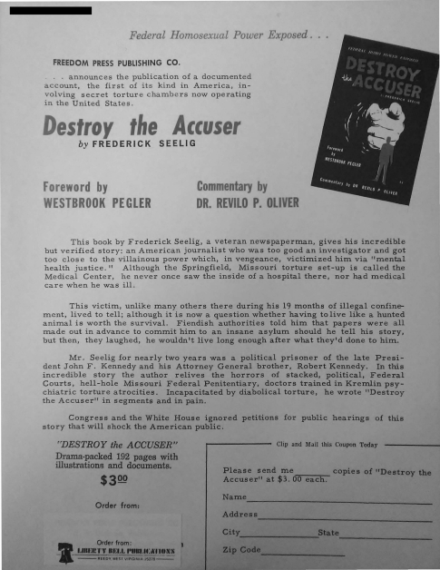 "Advertisement for a book entitled ""Destroy the Accuser"" with a foreword by Westbrook Pegler and commentary by Revilo P. Oliver"