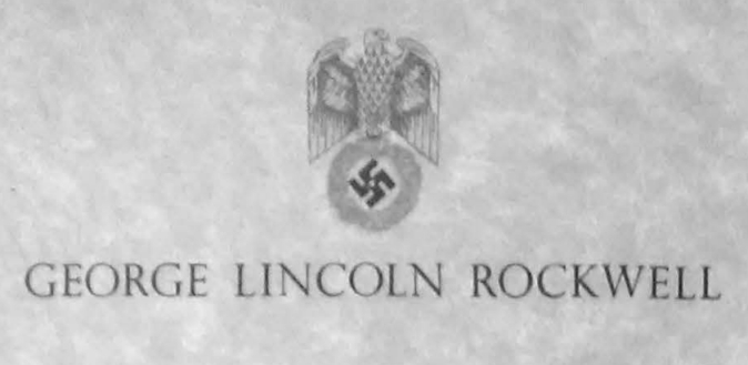Letter head with the name: George Lincoln Rockwell and a picture of a Swastika