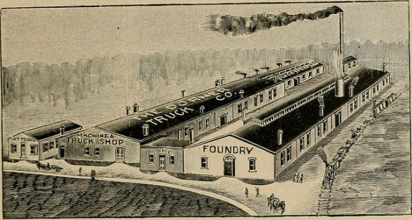 Black-and-white drawing of a factory