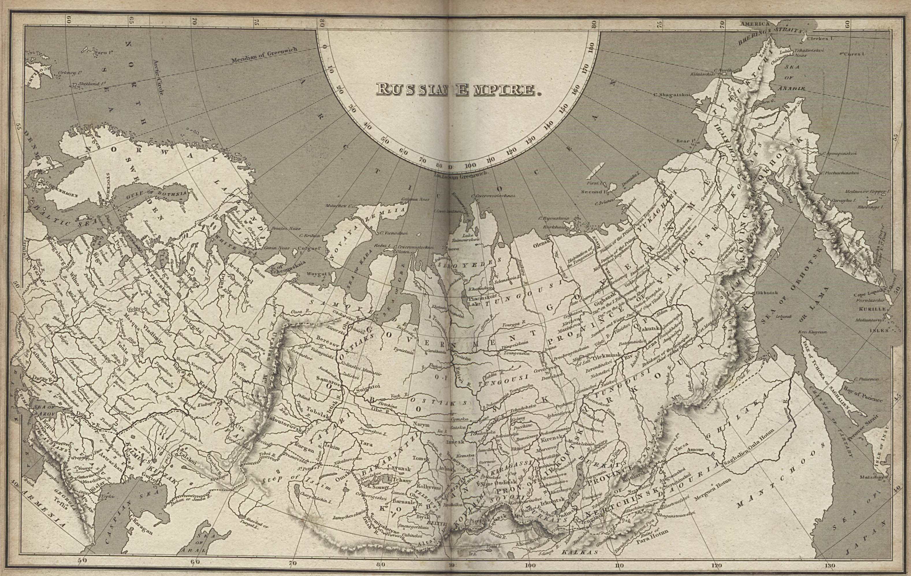 Map of the Russian Empire, 1820