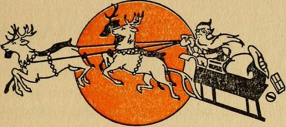 Drawing of Santa and reindeer