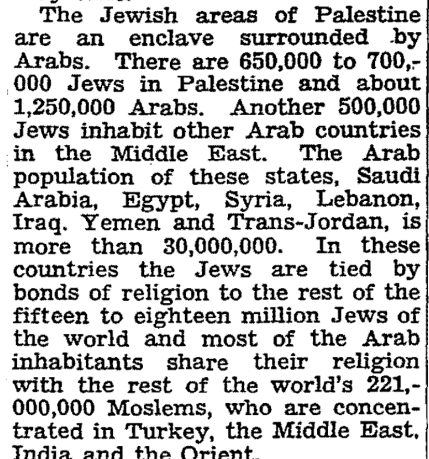 The Jewish areas of Palestine are an enclave surrounded by Arabs. There are 650,000 to 700,000 Jews in Palestine and about 1,250,000 Arabs. Another 500,000 Jews inhabit other Arab countries in the Middle East. The Arab population of these states, Saudi Arabia, Egypt, Syria, Lebanon, Iraq. Yemen and Trans-Jordan, is more than 30,000,000. In these countries the Jews are tied by bonds of religion to the rest of the fifteen to eighteen million Jews of the world and most of the Arab inhabitants share their religion with the rest of the world's 221,000,000 Moslems, who are concentrated in Turkey, the Middle East, India and the Orient.