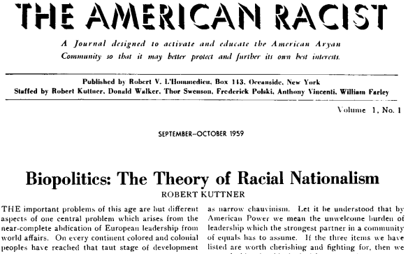 Headline of The American Racist and Kutter's article,