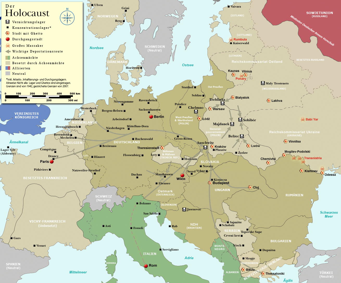 A Map depicting Nazi concentration camps.