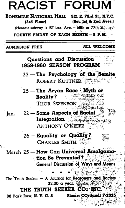 Flyer advertising the Racist Forum and Kuttner's paper,