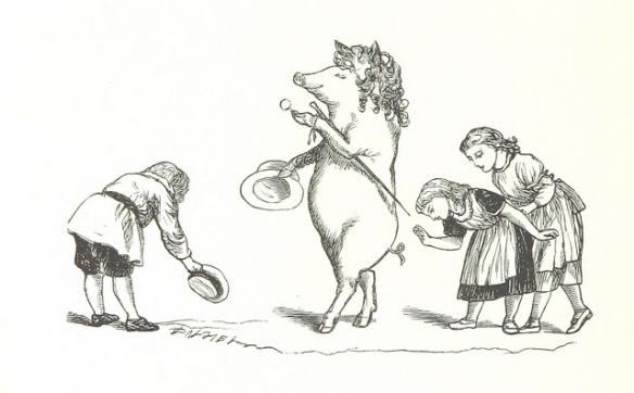 People bowing down to a pig walking on two legs with a walking stick and fancy hat.