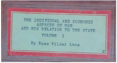 "Book plate reading: ""The Individual and Economic Aspects of Man and His Relation to the State, Volume I"""