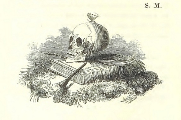 Skull on top of a book.