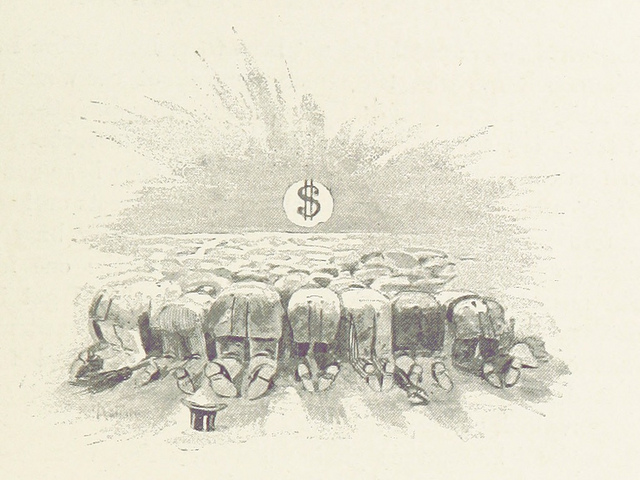 People bowing down to a dollar sign.