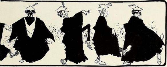 A cartoon of four professors in cap and gown doing silly walks