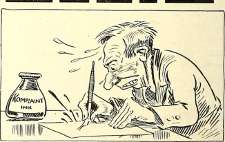 Sketch of a man writing a complaint