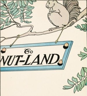 "A picture of a squirrel next to a sign that says ""Nut-land."""