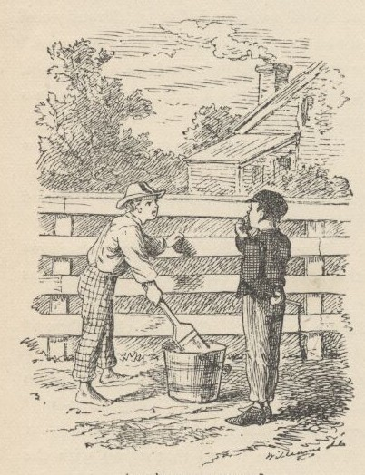 Tom Sawyer whitewashing the fence