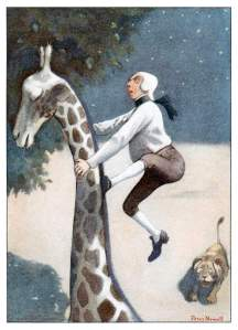 A man climbing the neck of a giraffe.