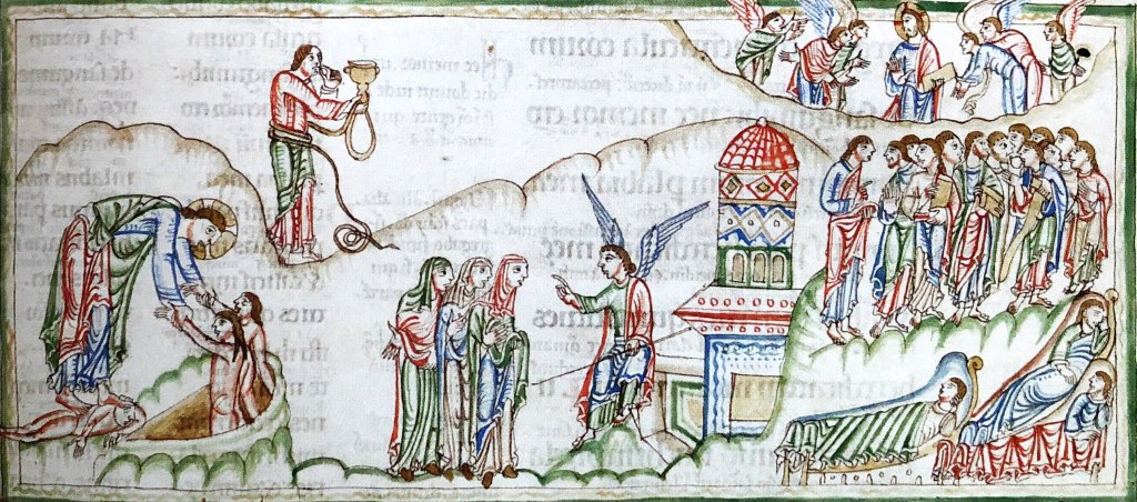 British Library, Anglo-Saxon Kingdoms The Eadwine Psalter, Canterbury, ca 1150 On the left Christ freeing Adam & Eve from hell; center, an angel announcing Christ's resurrection to the myrhhbearing women.