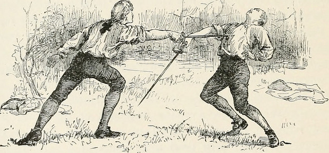 One man stabbing another in a sword duel.