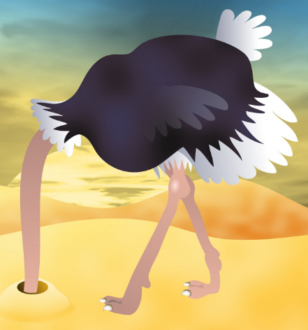 Cartoon of an ostrich sticking its head in the sand.