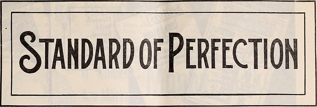 """A sign reading: """"Standard of Perfection"""""""